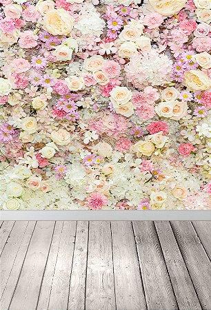 Fundo Fotográfico em Tecido Watercolor Flower