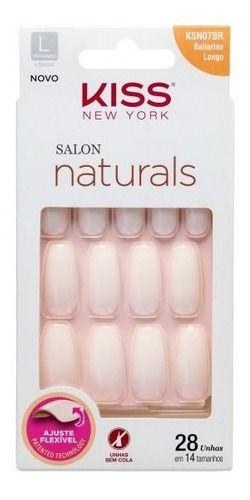 Unhas Postiças Salon Naturals KSN07BR Bailarina Longo Kiss NY