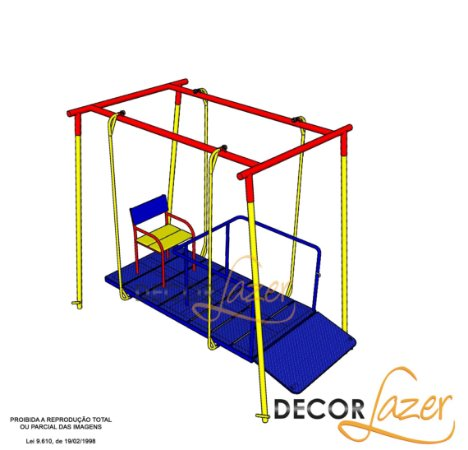 Playground Adaptado Balanço Frontal para Cadeirante