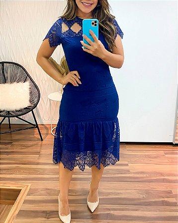 Vestido Midi de Renda Azul