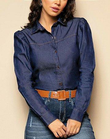 Camisa Jeans Escuro com Mangas Bufantes