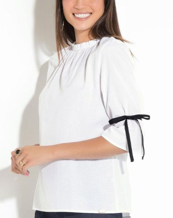 Camisa Branca Quintess com Gola Franzida