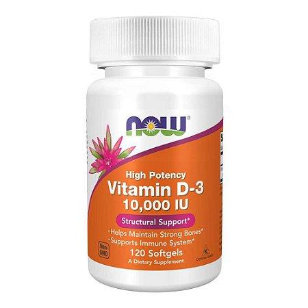 Vitamina D3 10000 IU Importada (120 Cápsulas) - Now Foods