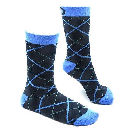 Meia Estampada Divertida Slotyx Ilusão Azul