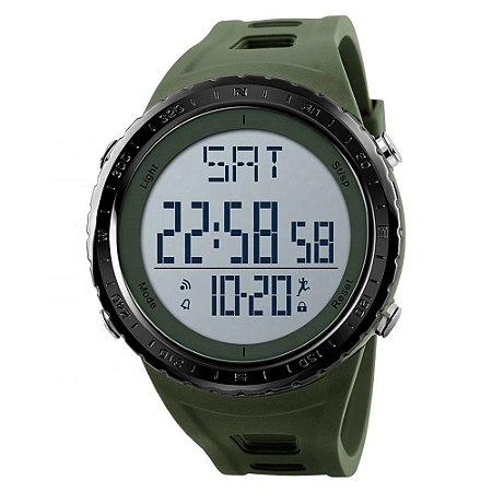 Relógio Pedômetro Masculino Skmei Digital 1288 - Verde e Prata