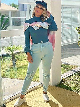 Blusa Canelada Golê Azul