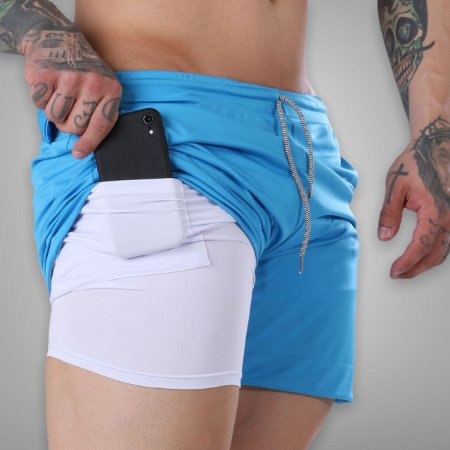 Shorts Fitness 2 Em 1 - Dry Fit E Térmico De Compressão - Esportivo Para Corrida E Treino  - Azul Turquesa