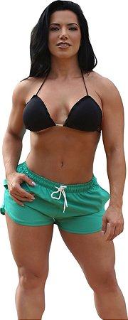 Shorts On The Beach 2 em 1 Feminino com Porta Celular a Prova D'água - Verde Barcelona