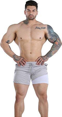 Shorts Fitness 2 Em 1 - Dry Fit E Térmico De Compressão - Esportivo Para Corrida E Treino  - Cinza