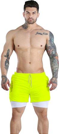 Shorts Fitness 2 Em 1 - Dry Fit E Térmico De Compressão - Esportivo Para Corrida E Treino  - Flúor