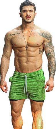 Shorts Fitness 2 Em 1 - Dry Fit E Térmico De Compressão - Esportivo Para Corrida E Treino  - Verde Mescla