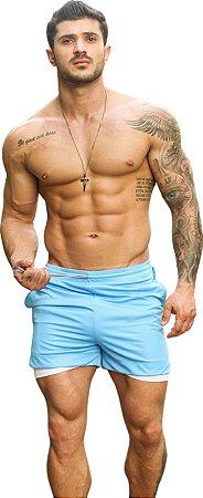 Shorts Fitness 2 Em 1 - Dry Fit E Térmico De Compressão - Esportivo Para Corrida E Treino  - Azul Celeste