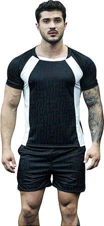Camisa Jacquard Dry Fit - Preta Com Branco