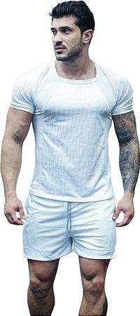 Camisa Jacquard Dry Fit - Branca