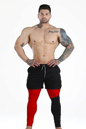 2 em 1 - Short Fitness Dry Fit e Calça Térmica De Compressão - Esportivo Para Corrida E Treino  - Preto com Vermelho