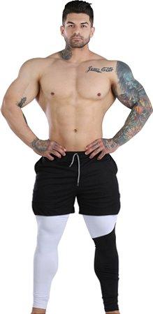 2 em 1 - Short Fitness Dry Fit e Calça Térmica De Compressão - Esportivo Para Corrida E Treino - Preto com Branco