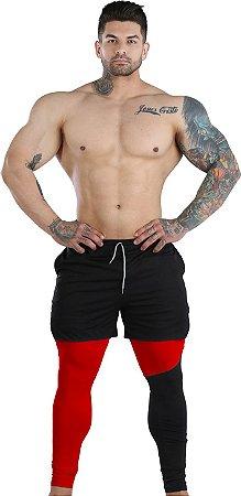 2 em 1 - Short Liner Dry Fit e Calça Térmica De Compressão - Esportivo Para Corrida E Treino - Vermelho com Preto