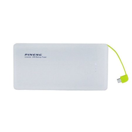 Carregador Portátil Power Bank Pineng 10000mah Slim Branco
