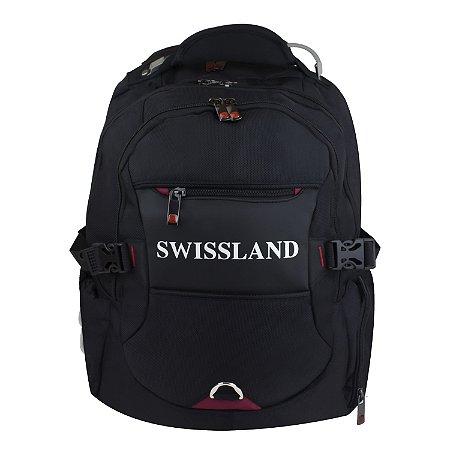 Mochila Swissland Reforçada Cabo de Aço Notebook Black