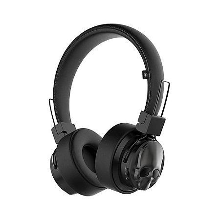 Headphone Bluetooth Black Skull - Preto