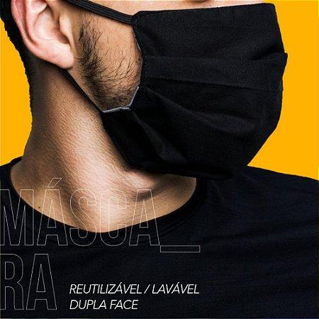 Máscara Protetora Dupla Face Reutilizável Lavável Cinza/Preto