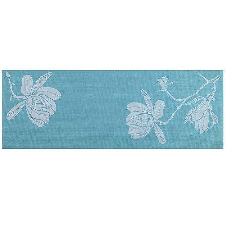 Tapete de Yoga Atrio Premium com Estampa Floral Azul