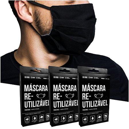 Kit 3 Máscaras Protetoras Dupla Face Reutilizável Lavável Cinza/Preto