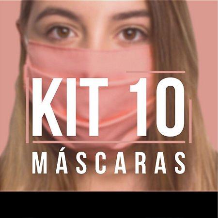 Kit 10 Máscaras Protetoras Dupla Face Reutilizável Lavável Branco/Rosa