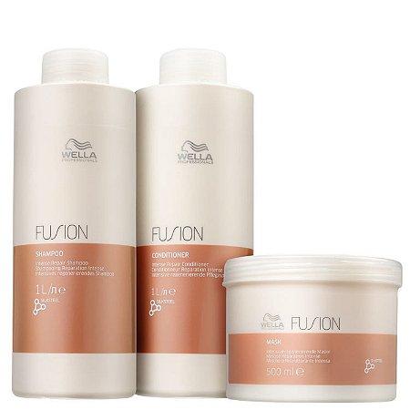 Wella Kit Fusion Shampoo 1000ml + Cond. 1000ml + Máscara 500g