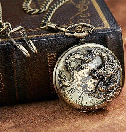Relógio de Bolso Dragão Esqueleto