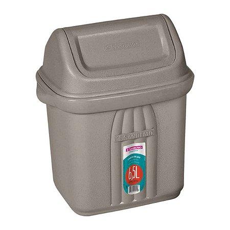Lixeira para Pia Plástico Cinza 6,5 litros Sanremo