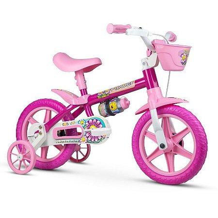 "Bicicleta Infantil Aro 12"" Rosa Pink Flower Nathor"