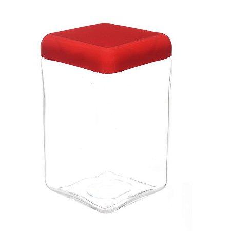 Pote de Vidro Quadrado Tendenza 1,3 Litros Vermelho Velvet Invicta