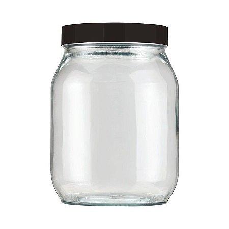 Pote de Vidro Liso 1,3 litros Preto Invicta