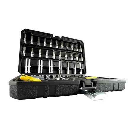 Kit Jogo de Ferramentas Soquetes 1/4 e Chaves com 57 peças com maleta Titanium