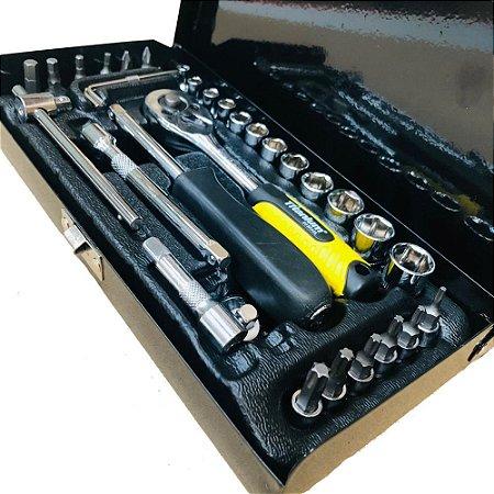 Kit Jogo de Ferramentas Soquetes 1/4 e Chaves com 33 peças com maleta Titanium