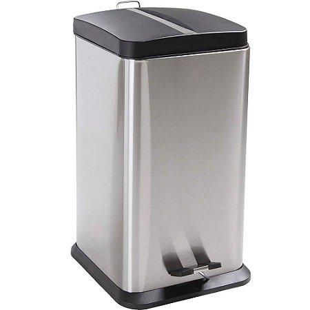 Lixeira Quadrada em Aço Inox 20 litros Jaspe Mor