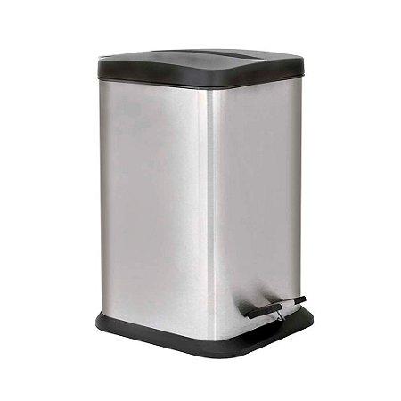 Lixeira Quadrada em Aço Inox 12 litros Jaspe Mor