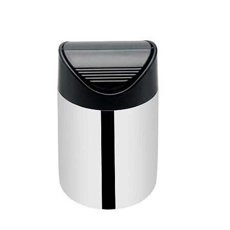 Lixeira Inox de Pia com Tampa Basculante Preto 1,5 litros Viel