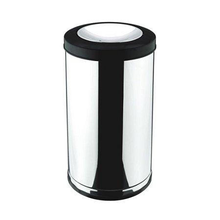 Lixeira em Aço Inox com Tampa Basculante Preto 15 litros Viel