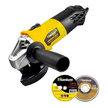 Esmerilhadeira Angular Turbo 4 1/2 710w 220V + Disco Corte Titanium