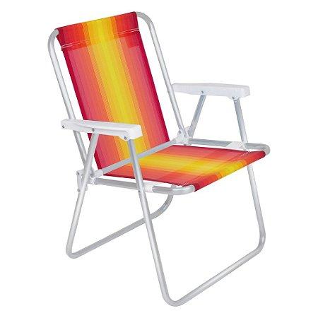 Cadeira De Praia E Piscina Alta Alumínio Reforçada Mor 110kg