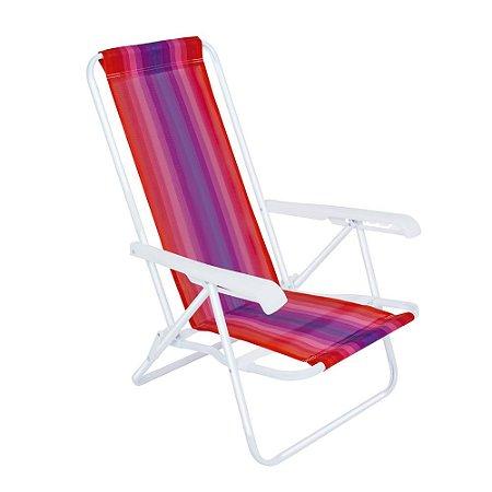Cadeira De Praia E Piscina Alta Reclinável 4 posições Alumínio Reforçada Mor 110kg