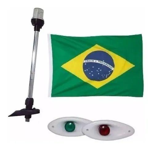 Kit Luz Mastro Alcançado 40cm + Led Olho De Tubarao Bandeira