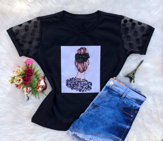 T-shirt menina de costa