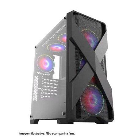 GAB. BRAZIL PC GAMER BPC-XE03 BLACK S/ FONTE/1XUSB3.0/2XUSB/LATERAL DE VIDRO TEMPERADO BOX