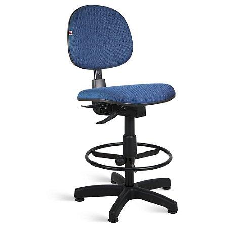 Cadeira Caixa Executiva Back System Tecido Azul Com Preto