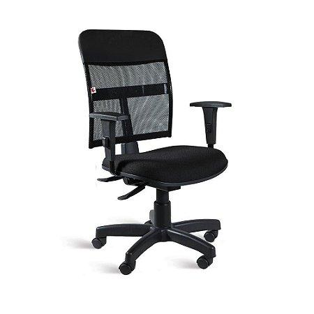 Cadeira Executiva Back System Braços Tecido Preto Mercúrio