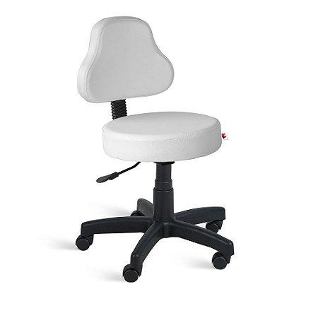 Cadeira Mocho Encosto Alto Giratória Couríssimo Branco