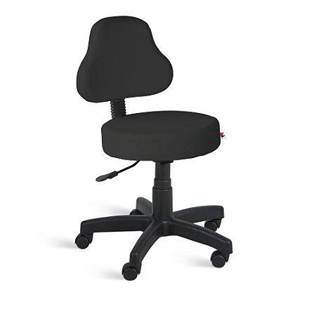 Cadeira Mocho Encosto Alto Giratória Couríssimo Preto